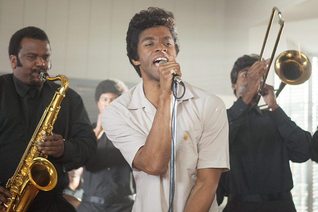"L to R CRAIG ROBINSON as Maceo Parker and CHADWICK BOSEMAN as James Brown in ""Get on Up"", the incredible life story of the Godfather of Soul, from director Tate Taylor. (Copyright © 2014 Universa ..."