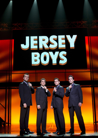 "Rob Marnell, from left, Graham Fenton, Deven May and Jeff Leibow in ""Jersey Boys."" (Joan Marcus/Courtesy)"