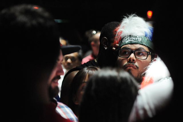 Jose Perez watches the 2014 FIFA World Cup quarter-final soccer game between the United States and Belgium at Crown & Anchor British Pub in Las Vegas Tuesday, July 1, 2014. (Erik Verduzco/Las Vega ...