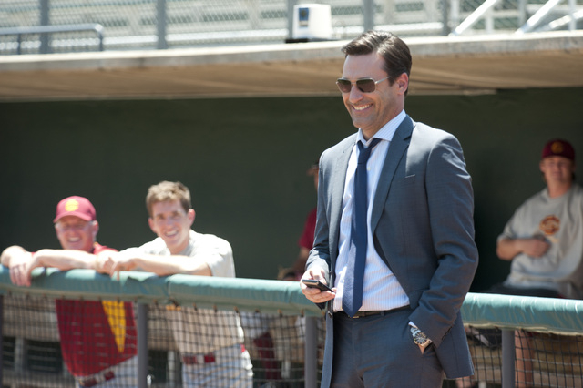 "This image released by Disney shows Jon Hamm in a scene from ""Million Dollar Arm."" (AP Photo/Disney, Ron Phillips)"
