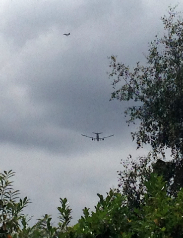 A military fighter jet is seen near a passenger jet as it comes in to land at Manchester airport, Tuesday, Aug. 5, 2014. Police say they have arrested a man on suspicion of making a hoax bomb thre ...
