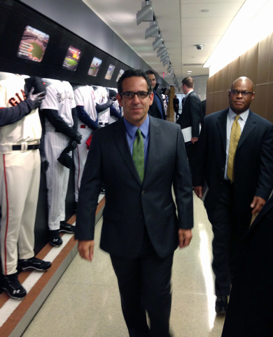 FILE - In this Sept. 30, 2013, file photo provided by Fitzpatrick Communications, Anthony Bosch is escorted by Major League Baseball security person Ric Burnham, right, at MLB headquarters in New  ...