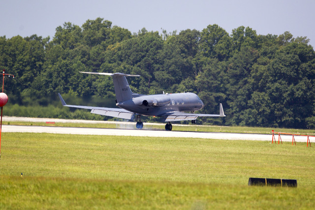 A private plane arrives at Dobbins Air Reserve Base transporting Nancy Writebol, the second American missionary stricken with Ebola, Tuesday, Aug.  5, 2014, in Marietta, Ga. Writebol was admitted  ...