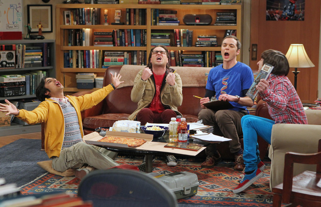 """This publicity image released by CBS shows, from left,  Kunal Nayyar, Johnny Galecki, Jim Parsons and Simon Helberg in a scene from """"The Big Bang Theory."""" The studio that produces The Big Bang The ..."""