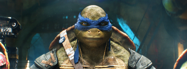 "This image released by Paramount Pictures shows the character Leonardo in a scene from ""Teenage Mutant Ninja Turtles."" (AP Photo/Paramount Pictures, Industrial Light & Magic)"