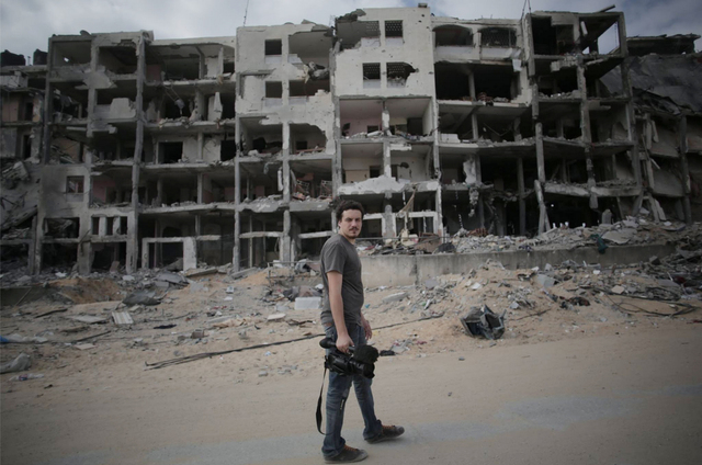 This Monday, Aug. 11 2014 photo shows Associated Press video journalist Simone Camilli in Beit Lahiya, Gaza Strip. Camilli, 35, was killed in an ordnance explosion in the Gaza Strip, on Wednesday, ...