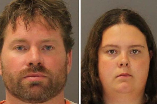 These images provided by the St. Lawrence County Sheriff's Office shows the booking photo of Stephan Howells II, 39, ,left, and Nicole Vaisey, 25, who was arraigned late Friday Aug. 15, 2014 on ch ...
