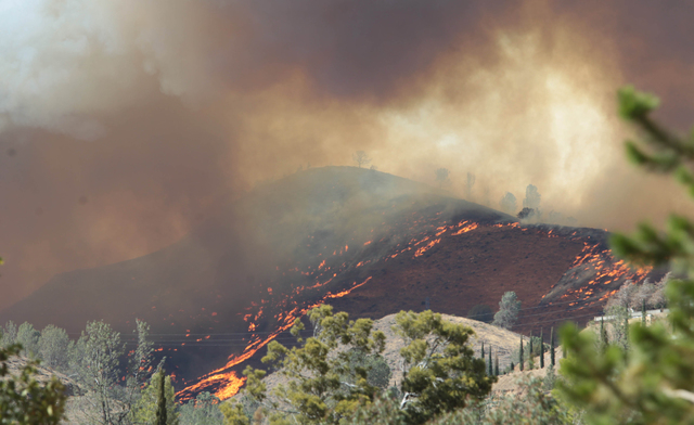 Smoke rises from a fire in Wofford Heights, Calif, Monday, Aug. 18, 2014. The fire in Wofford Heights near Lake Isabella has grown to about slightly more than 1 square mile, or 800 acres, the U.S. ...