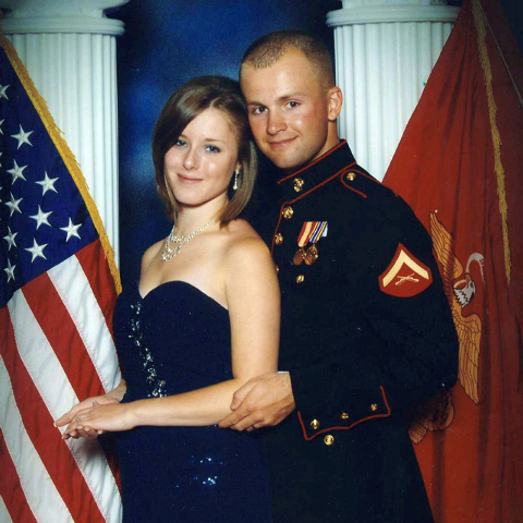 FILE - This undated file photo provided by the San Bernardino County, Calif., Sheriff's Department shows Erin Corwin, left, with her husband, Jonathan Wayne Corwin, a corporal in the U.S. Marine C ...