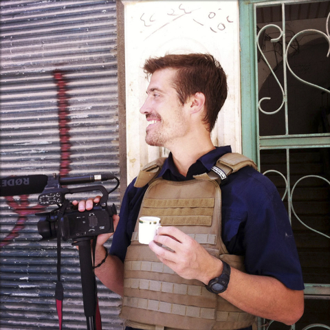 This file photo posted on the website freejamesfoley.org shows journalist James Foley in Aleppo, Syria, in July, 2012. In a horrifying act of revenge for U.S. airstrikes in northern Iraq, militant ...