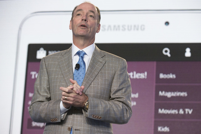 Tim Baxter, president of Samsung Electronics America, speaks during the unveiling of the Samsung Galaxy Tab 4 Nook, a co-branded tablet that will replace B&N's Nook, Wednesday, Aug. 20, 2014, in N ...
