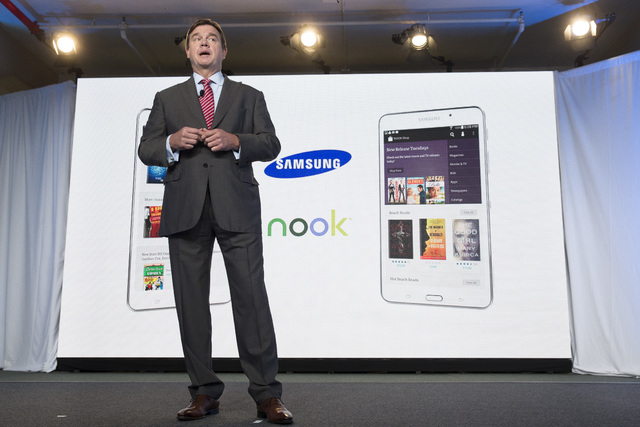 Mike Huseby, CEO of Barnes & Noble, speaks during the unveiling of the Samsung Galaxy Tab 4 Nook, a tablet that will replace B&N's Nook, Wednesday, Aug. 20, 2014, in New York. The 7-inch tablet wi ...