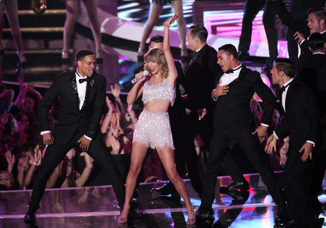 Taylor Swift performs at the MTV Video Music Awards at The Forum on Sunday, Aug. 24, 2014, in Inglewood, Calif. (Photo by Chris Pizzello/Invision/AP)