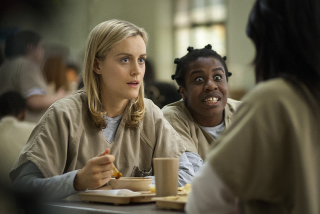 """This image released by Netflix shows Taylor Schilling, left, and Uzo Aduba in a scene from """"Orange Is the New Black."""" (AP Photo/Netflix, Paul Schiraldi, File)"""
