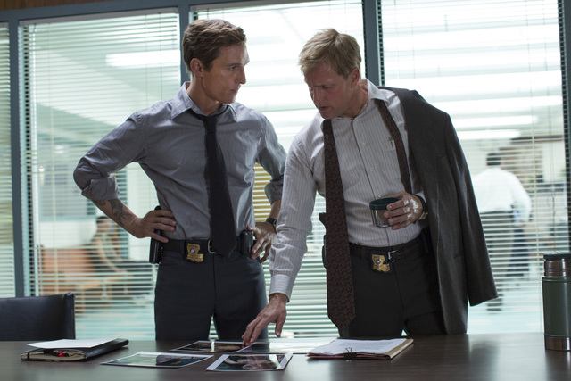 """This image released by HBO shows Matthew McConaughey, left, and Woody Harrelson from the HBO series """"True Detective."""" (AP Photo/HBO, Michele K. Short)"""