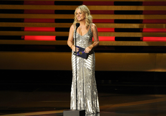 Amy Poehler presents the award for outstanding supporting actor in a comedy series on stage at the 66th Annual Primetime Emmy Awards at the Nokia Theatre L.A. Live on Monday, Aug. 25, 2014, in Los ...