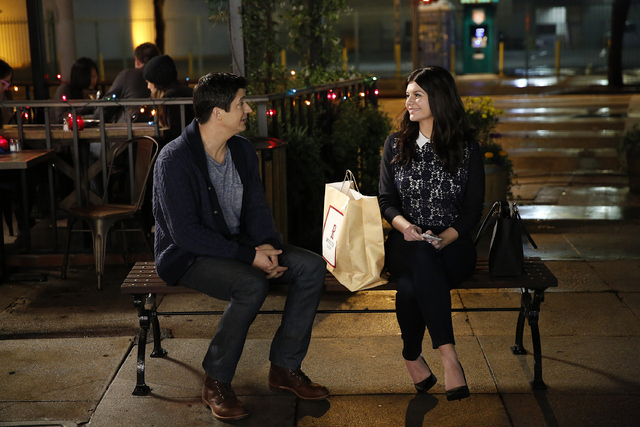 """This image released by NBC shows Ken Marino, left, and Casey Wilson from the comedy, """"Marry Me,"""" premiering on Oct. 14. (AP Photo/NBC, Greg Gaynes)"""