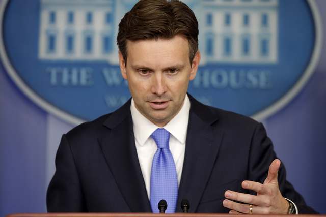 White House press secretary Josh Earnest took questions on ISIS, Iraq and Syria during the daily press briefing at the White House in Washington, Monday, Aug. 25, 2014. (AP Photo/Charles Dharapak)