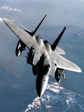 This is an April 4, 1999, file photo, provided by the Department of Defense shows a US Air force F-15C jet. An Air Force F-15C fighter jet based in Massachusetts crashed in the mountains of wester ...
