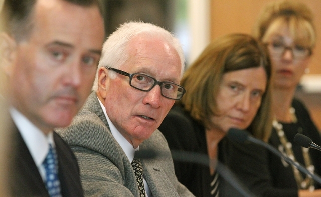 Utah state liquor board members Jeff Wright, left, Board Commissioner David Gladwell, Kathleen McConkie Collinwood and Olivia Vela Agraz look on during the monthly meeting of the state liquor comm ...