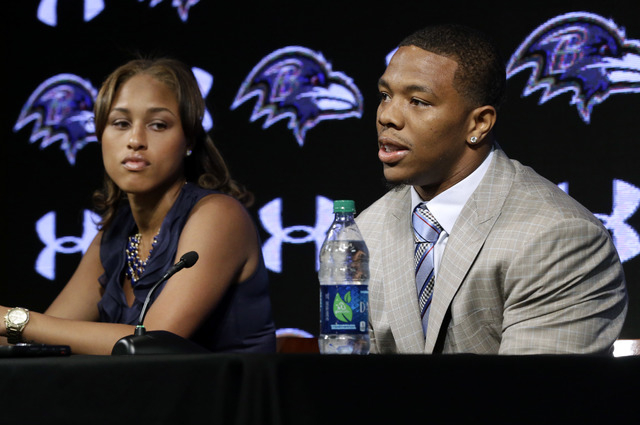 In this May 23, 2014, file photo, Baltimore Ravens running back Ray Rice, right, speaks alongside his wife, Janay, during a news conference, Friday, May 23, in Owings Mills, Md. Rices two-game sus ...