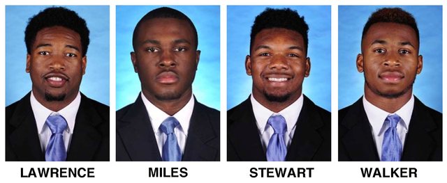 These undated photos provided by the University of North Carolina shows football players, from left, Des Lawrence and Brian Walker, Donnie Miles and M.J. Stewart. North Carolina coach Larry Fedora ...