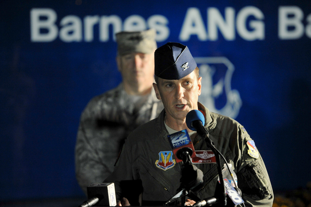 Col. James Keefe, commander of the 104th Fighter Wing of the Massachusetts Air National guard announces Thursday evening, Aug. 28, 2014, the missing F-15C pilot remains have been found in the plan ...