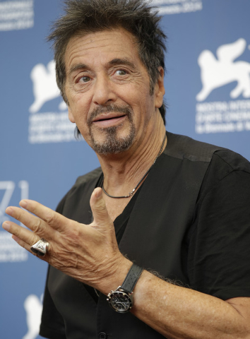 Actor Al Pacino poses during the photo call for the movie 'The humbling' at the 71st edition of the Venice Film Festival in Venice, Italy, Saturday, Aug. 30, 2014. (AP Photo/Andrew Medichini)