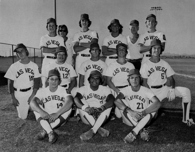 Post 8 of Las Vegas was the 1974 Nevada American Legion champion. Left to right: bottom row: Terry Holden, John Rivera, Ed Rogich; middle row: Jeff Taylor, Tim Lewis, Steve Davies, Bobby Sullivan, ...