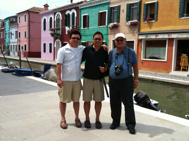This one is in Venice and the middle person is myself, on the left is my brother Marcus, the Director of Admissions for the school. On the right, is Dad, for whom the Las Vegas-based Timothy S Y L ...