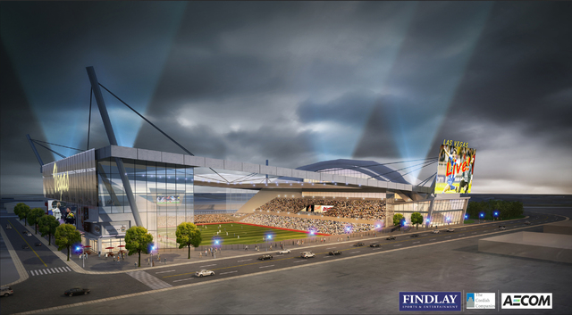 Artist's Rendering  of a state-of-the-art stadium designed specifically for Major League Soccer (MLS). The new MLS stadium would be home to a Las Vegas-based MLS franchise and would be located in  ...