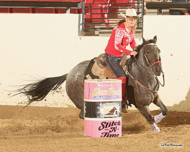 Marla Stevens competes at the third annual Buckles and Barrels for Bailey charity event in 2013 at the South Point, 9777 Las Vegas Blvd. South. The event benefits the Spring Valley Hospital's neon ...