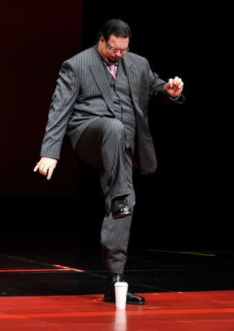 Penn Jillette of the comedy/magic team Penn & Teller performs during his show at the Rio on Monday, Aug. 18, 2014. (David Becker/Las Vegas Review-Journal)