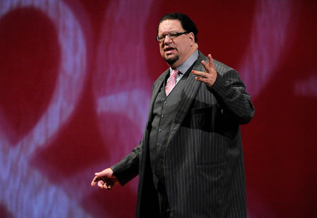 Penn Jillette of the comedy/magic team Penn & Teller speaks during his performance at the Rio on Monday, Aug. 18, 2014. (David Becker/Las Vegas Review-Journal)