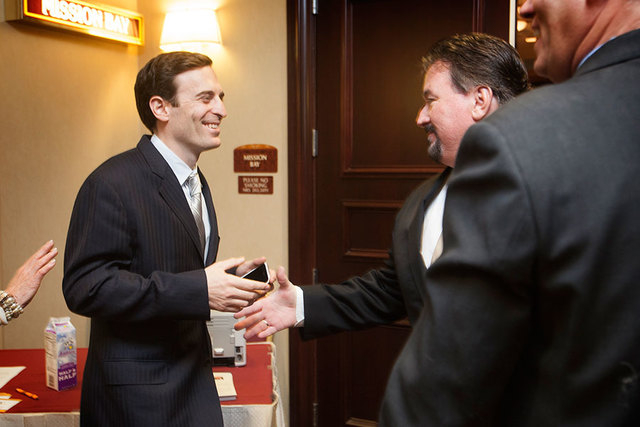 Adam Laxalt, left, chats with Nevada Republican Party Chairman Michael J. McDonald at the South Point on April 11. (Jeff Scheid/Las Vegas Review-Journal)