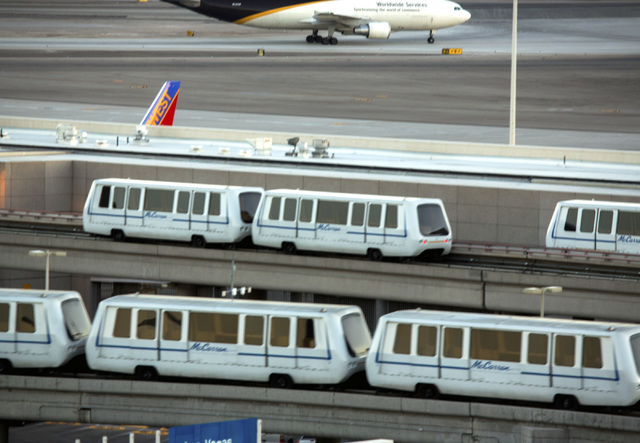 People movers operating from Terminal 1 to C and D Gates at McCarran International Airport on Aug. 6, 2014. The airport  is on  pace to serve more than 40 million this year. (Jeff Scheid/Las Vegas ...
