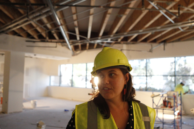 Jessica Wheeler, public relations manager, gives a tour of the new corporate headquarters of Allegiant Air, 1201 N. Town Center Dr. in Las Vegas Wednesday, Aug. 27, 2014. The project is scheduled  ...
