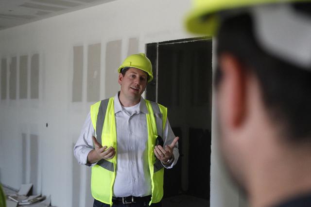 Keith Hansen, director of facilities, gives a tour of the new corporate headquarters of Allegiant Air, 1201 N. Town Center Dr. in Las Vegas Wednesday, Aug. 27, 2014. The project is scheduled to be ...