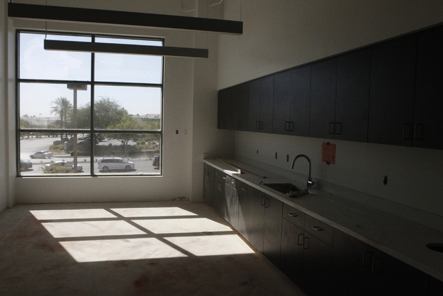 The break room for call center employees at Allegiant Air is seen during a tour at their future corporate headquarters, 1201 N. Town Center Dr. in Las Vegas Wednesday, Aug. 27, 2014. The project i ...