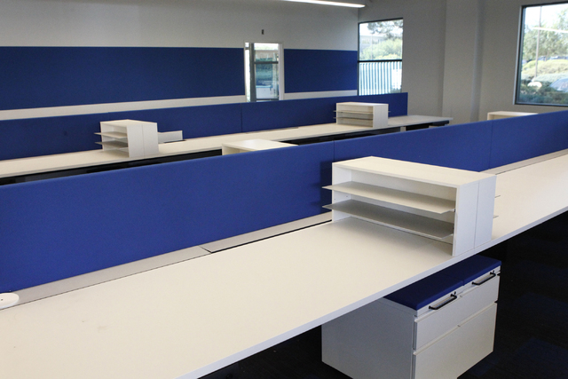 Desk furniture is seen at the future corporate headquarters for Allegiant Air, 1201 N. Town Center Dr. in Las Vegas Wednesday, Aug. 27, 2014. The project is scheduled to be completed in the fall.  ...