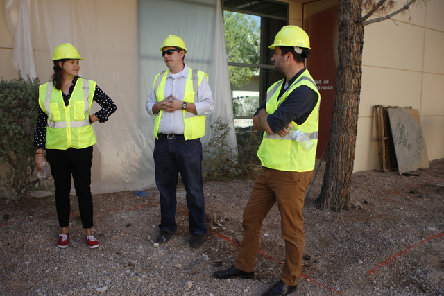 Jessica Wheeler, from left, public relations manager, Keith Hansen, director of facilities, and Micah Lillard, public relations specialist, give a tour of the future corporate headquarters of Alle ...