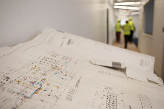 Project plans for future corporate headquarters of Allegiant Air, 1201 N. Town Center Dr. in Las Vegas, are seen during a tour Wednesday, Aug. 27, 2014. The project is scheduled to be completed in ...