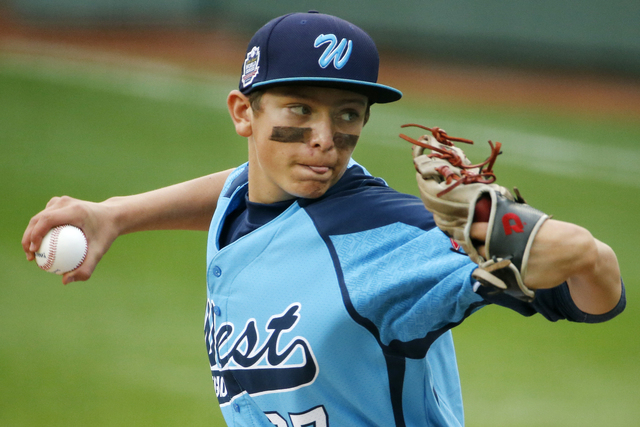 Las Vegas' Brennan Holligan (27) delivers in the first inning of the United States Championship game against Chicago  at the Little League World Series tournament in South Williamsport, Pa., Satur ...