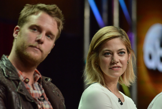 Jake McDorman, left, and Analeigh Tipton speak on stage during the 'Manhattan Love Story'' panel at the Disney/ABC Television Group 2014 Summer TCA at the Beverly Hilton Hotel on Tuesday, July 15, ...