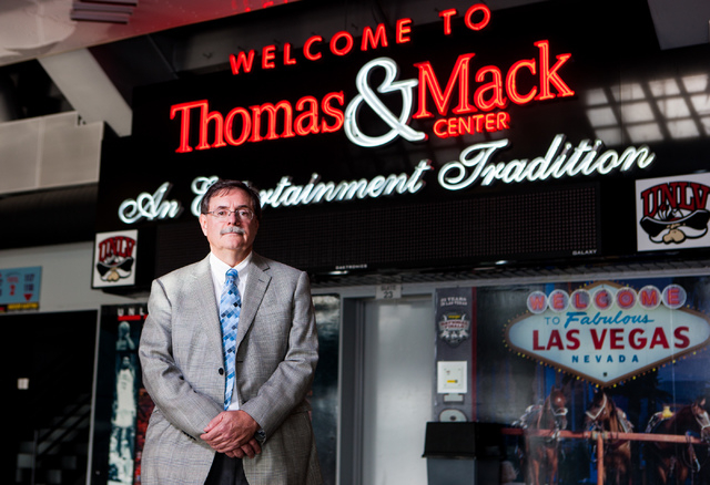 UNLV Senior Vice President for Finance and Business Gerry Bomotti poses in the concourse of the Thomas & Mack Center in Las Vegas on Feb. 7. (Chase Stevens/Las Vegas Business Press)