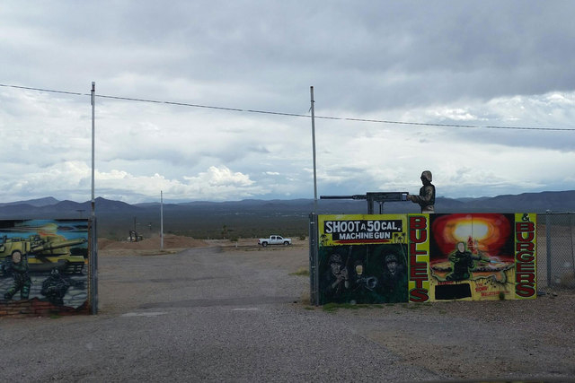 The entrance to Bullets and Burgers enterprise at the Last Stop, about 25 miles south of Las Vegas, is shown. A shooting instructor at the outdoor range died Monday night after being accidentally  ...