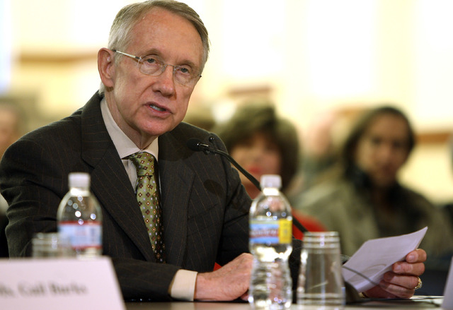 Senate Majority Leader Harry Reid, D-Nev., speaks to members of the U.S. Congressional Oversight Panel during the panel's first field hearing at the campus of the University of Nevada, Las Vegas o ...