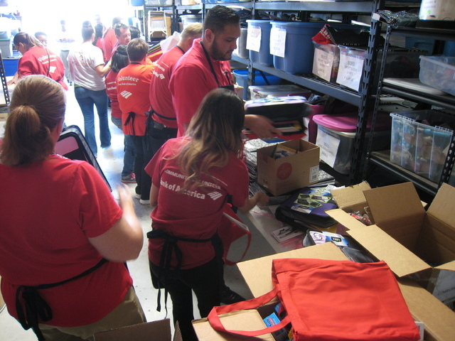 Nearly 20 Bank of America volunteers recently sorted, packed and distributed more than 400 backpacks alongside HomeAid Southern Nevada. The backpacks were handed out by Project 150, the Nevada Par ...