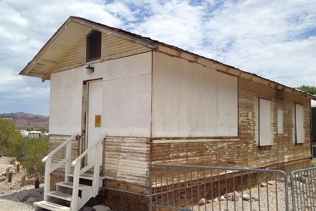 """The Bradley house sits at the Clark County Museum awaiting restoration. The 450-square-foot building originally was used as a ticket booth for Glover """"Roxy"""" Ruckstell's Grand Canyon Airlines ..."""