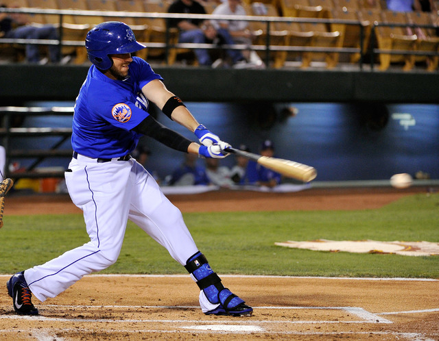 Las Vegas' Andrew Brown swings away during a baseball game against the Round Rock Express at Cashman Field on Tuesday, Aug. 26, 2014. The 51s have clinched a playoff berth. (David Becker/Las Vegas ...